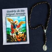 TR03 - Rosário São Miguel Arcanjo Madeira Marrom 7mm c/ Oração