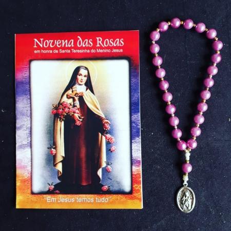 TR15 - Novena das Rosas Perola 8mm Santa Teresinha c/ Oração