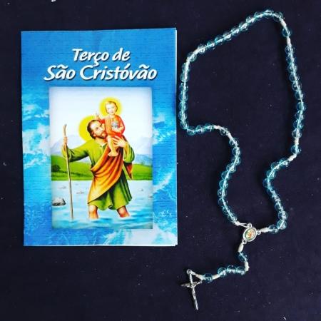 TR24 - Terço de São Cristovão Plastico 5mm c/ Oração
