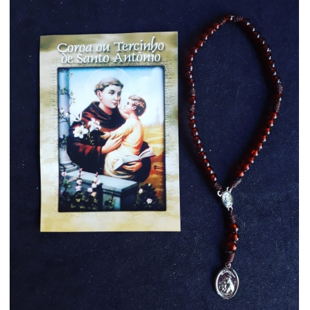 TR26 - Coroa ou Tercinho de Santo Antonio Cordão Plastico 5mm c/ Oração