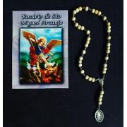 TR47 - Rosário São Miguel Arcanjo Madeira Natural 7mm c/ Oração