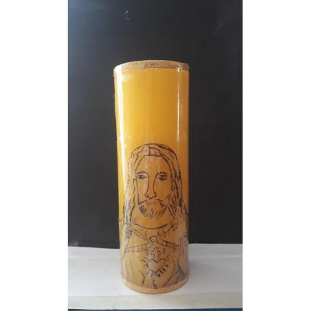 VL05 - Vela Altar Amarela Sagrado Coração de Jesus 70mmX205mm