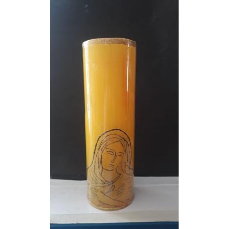VL06 - Vela Altar Amarela Imaculado Coração de Maria 70mmX220mm
