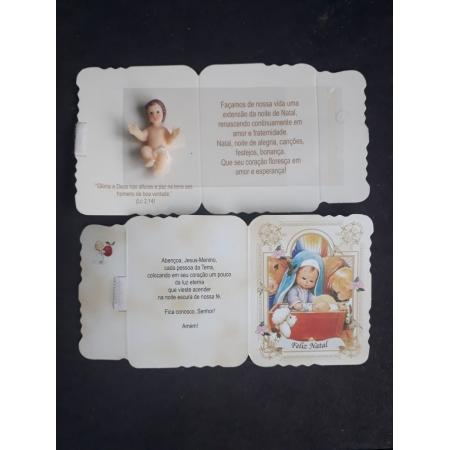 WE13 - Cartão Natal com Menino Jesus 4cm Resina