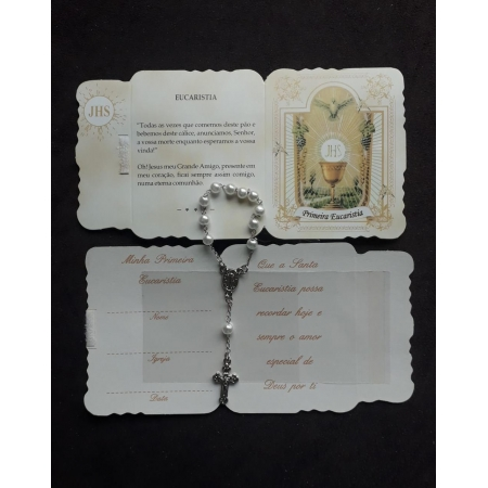 WE50 - Kit Lembrança Cartão 1ª Eucaristia c/ Dezena Perolada e Velcro