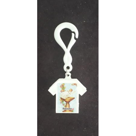 WE91 - Lembrança Batismo Camiseta c/ Dezena Perola Branca
