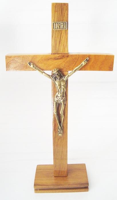 CX50 - Crucifixo Mad. c/ Cristo Crucificado Liso 20cm  - VindVedShop - Distribuidora Catolica