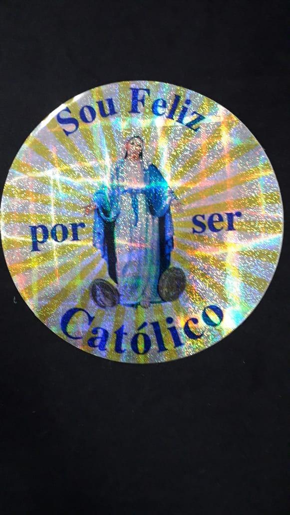 A14 - Adesivo Red. Sou Feliz por Ser Catolico 110mm  - VindVedShop - Distribuidora Catolica