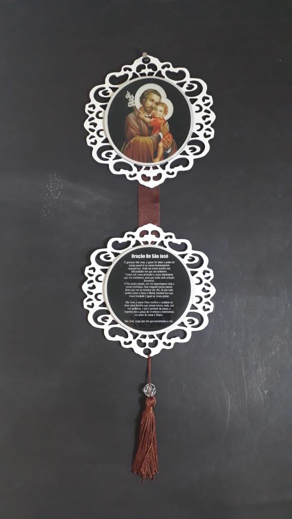 AD01 - Adorno de Porta Madeira 13cm São José  - VindVedShop - Distribuidora Catolica