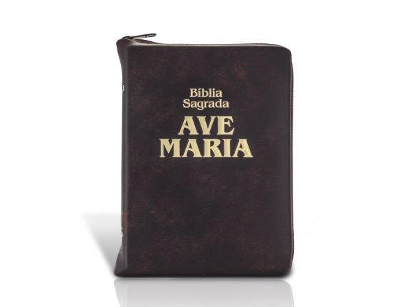 Bíblia Sagrada Ave Maria Bolso c/ Ziper Marrom  - VindVedShop - Distribuidora Catolica