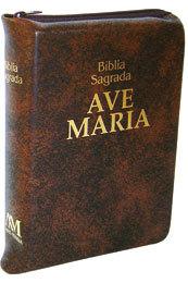 Bíblia Sagrada Ave Maria Media c/ Zíper Marrom  - VindVedShop - Distribuidora Catolica