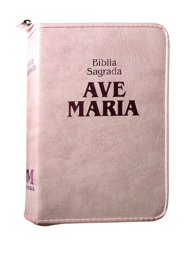 Biblia Sagrada Ave Maria Media c/ Ziper Rosa Strike  - VindVedShop - Distribuidora Catolica