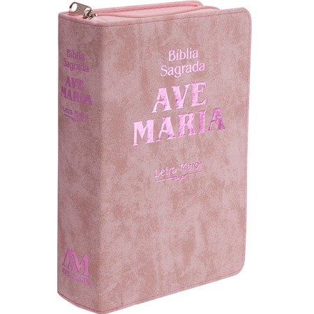 Biblia Sagrada Ave Maria Ziper Media Rosa Letra Maior  - VindVedShop - Distribuidora Catolica