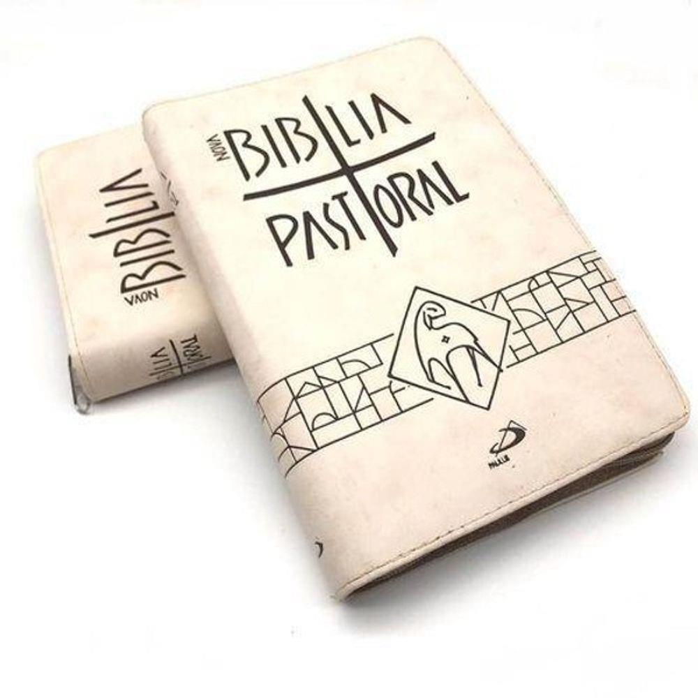 Biblia Sagrada Nova Ed. Pastoral Media Ziper Bege  - VindVedShop - Distribuidora Catolica