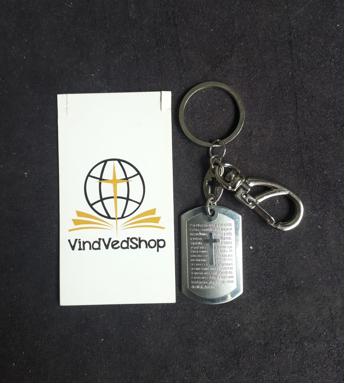 C08M - Chaveiro Aço Placa Oração Pai Nosso 40mm Retangular c/ Mosquetão  - VindVedShop - Distribuidora Catolica
