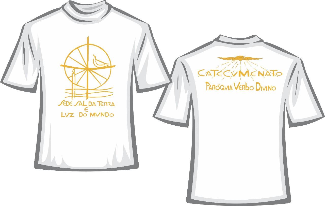 CA25 - Camiseta Algodão Branca - Catecumenato  - VindVedShop - Distribuidora Catolica