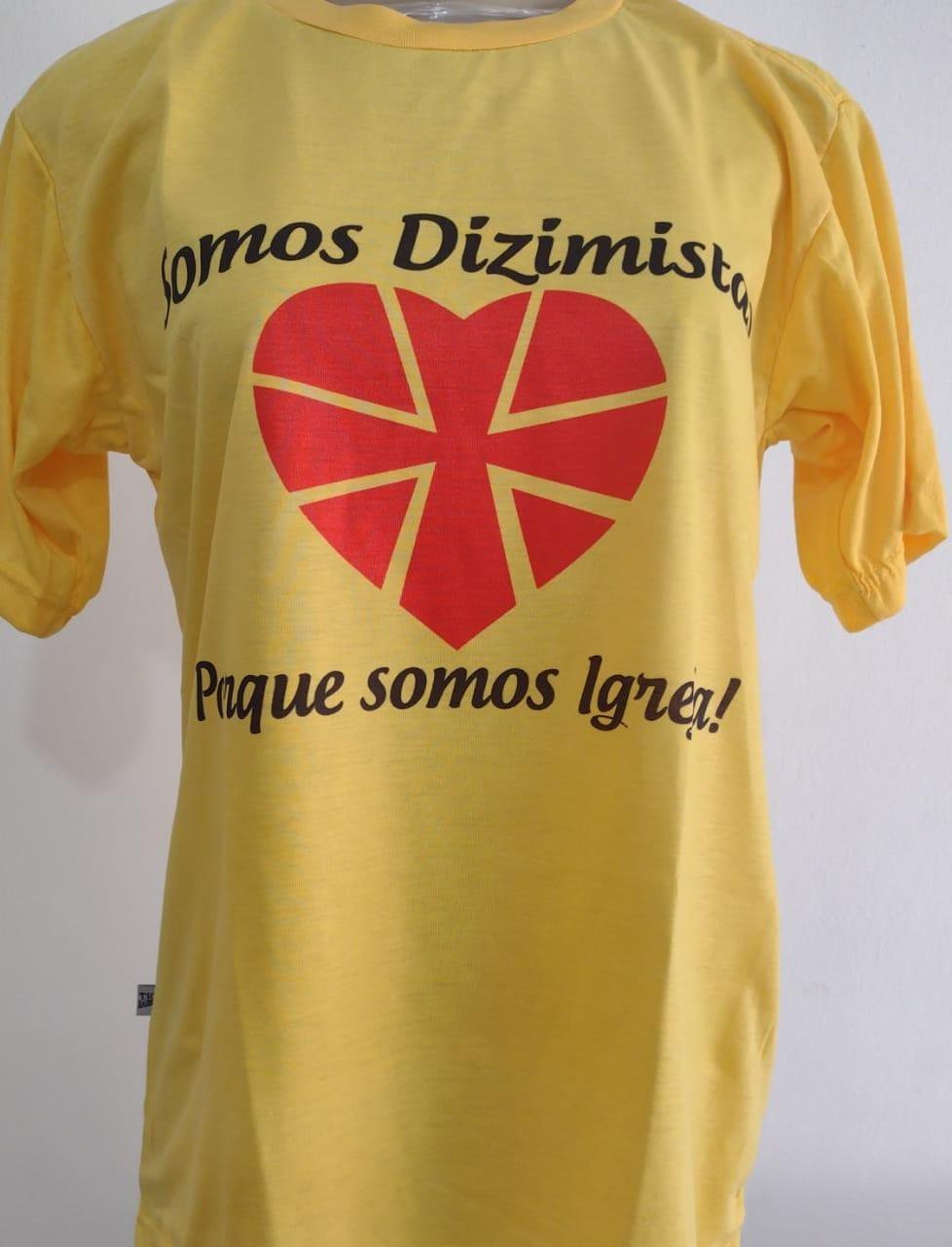 CA33 - Camiseta Poliester Amarela Dizimo F/C  - VindVedShop - Distribuidora Catolica