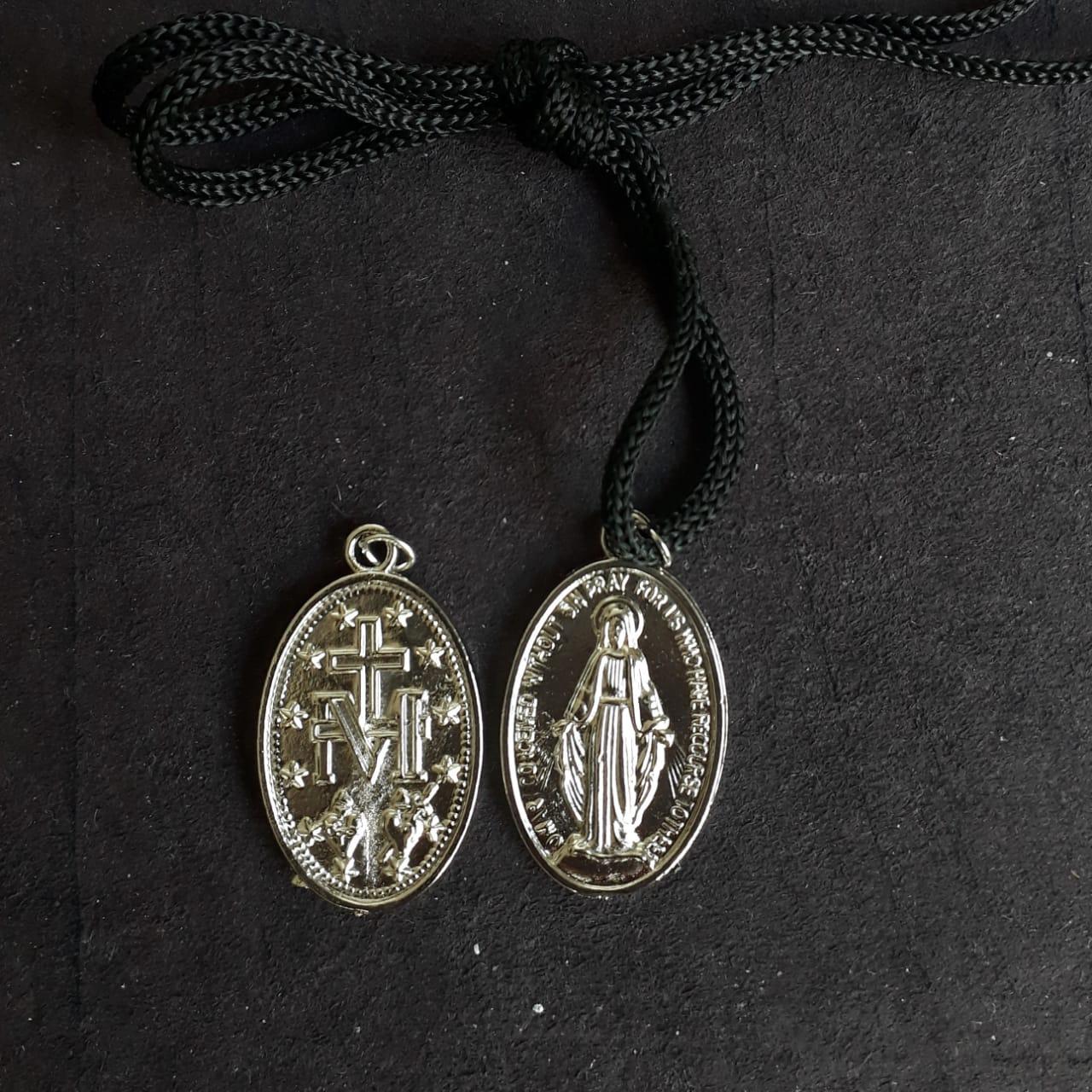 CR136 - Cordão Medalha Nossa Senhora das Graças 36mm Niquel  - VindVedShop - Distribuidora Catolica