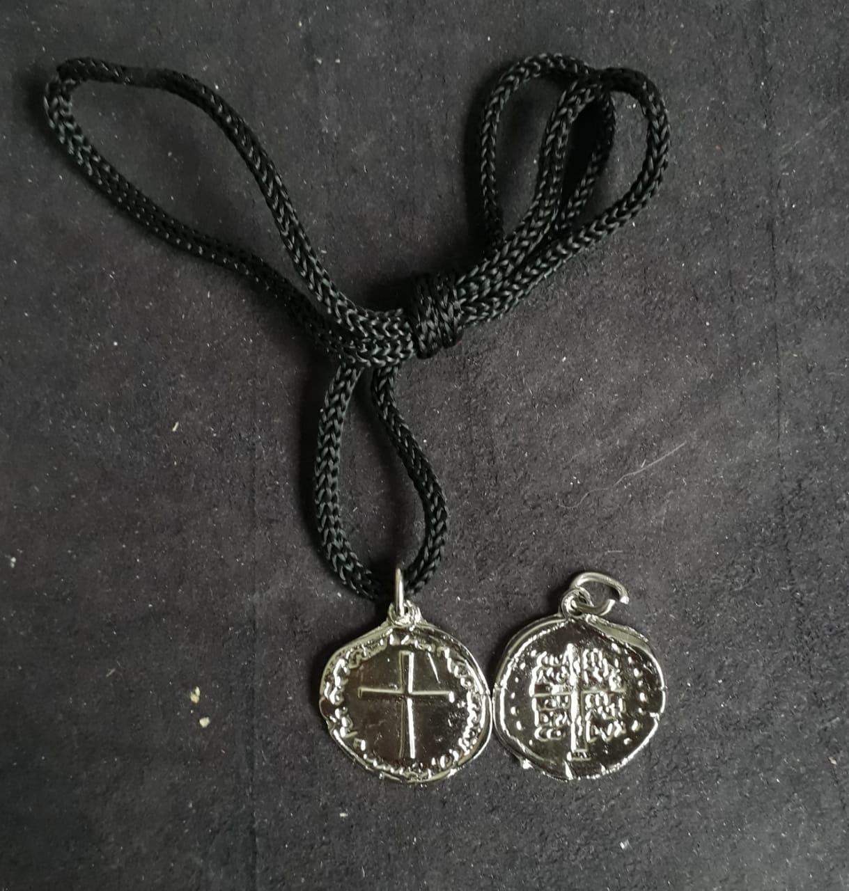 CR137 - Cordão Medalha Duas Cruzes 24mm Niquel  - VindVedShop - Distribuidora Catolica