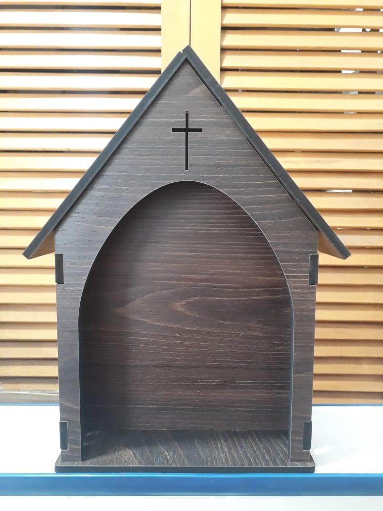 CT10 - Capela Oratorio Madeira 30cmX24cmX6mm  - VindVedShop - Distribuidora Catolica