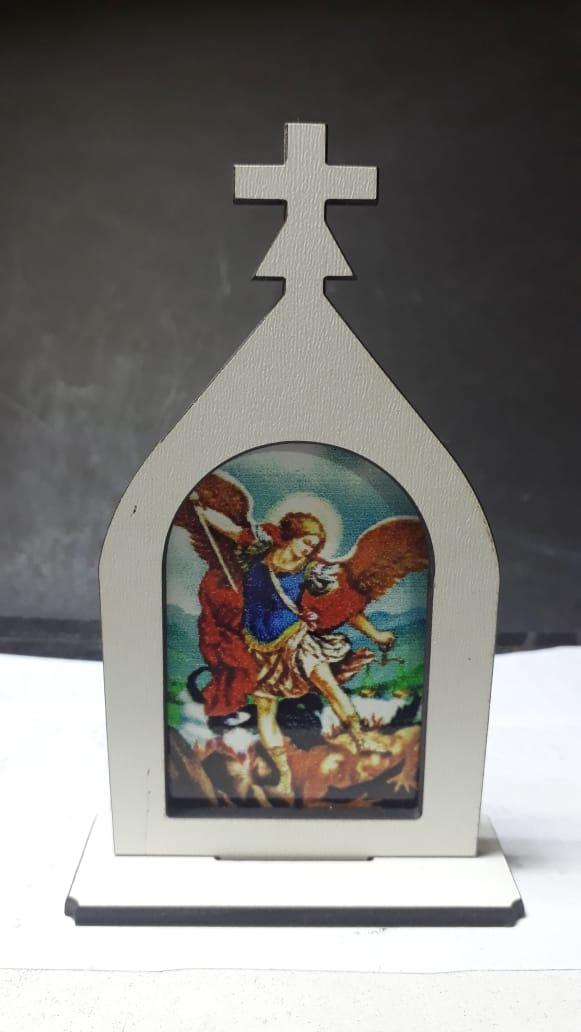 CT15 - Capela Madeira 10cm São Miguel Arcanjo  - VindVedShop - Distribuidora Catolica