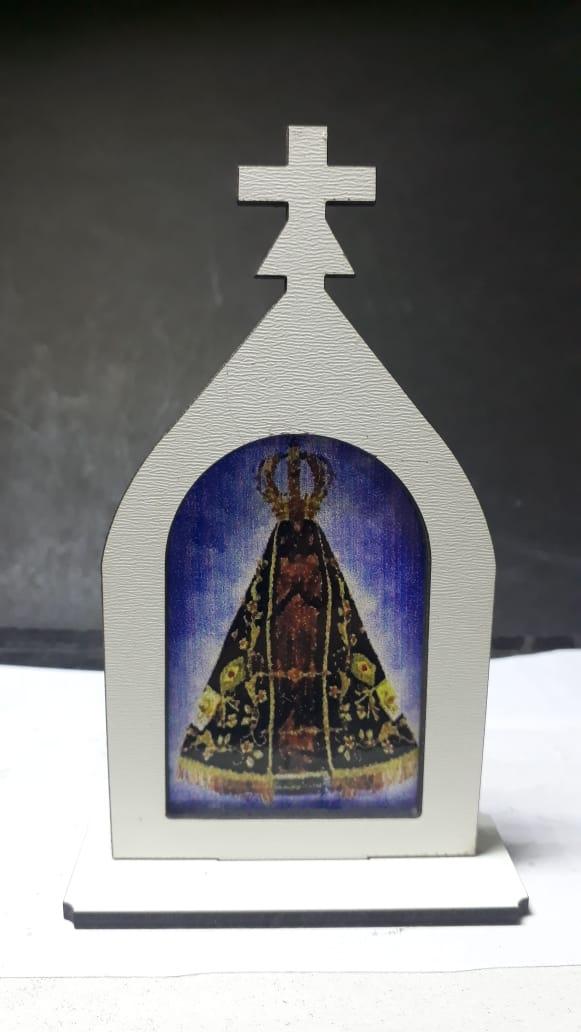 CT16 - Capela Madeira 10cm Nossa Senhora Aparecida  - VindVedShop - Distribuidora Catolica