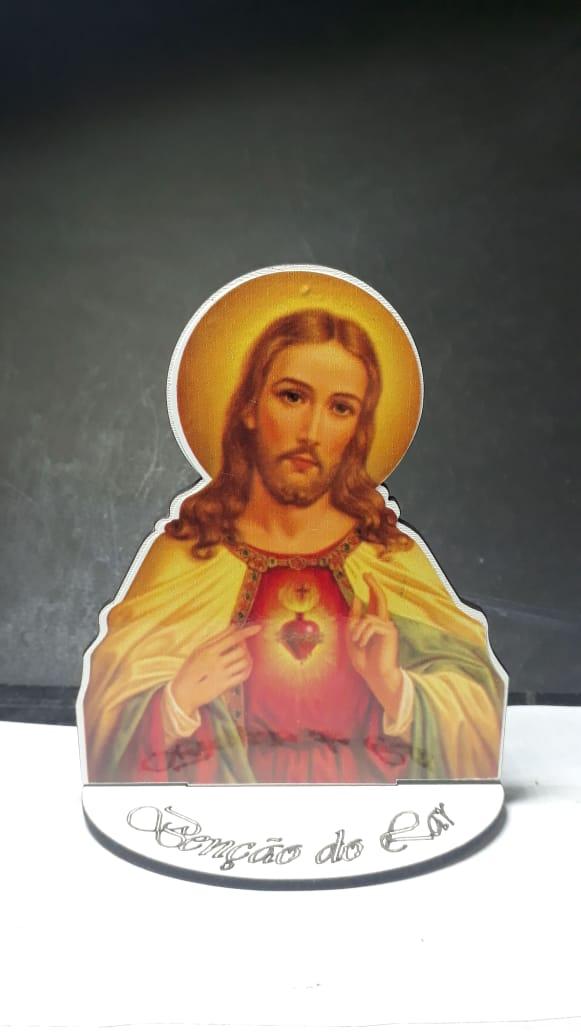 CT19 - Busto MDF Sagrado Coração de Jesus 10cm Madeira  - VindVedShop - Distribuidora Catolica