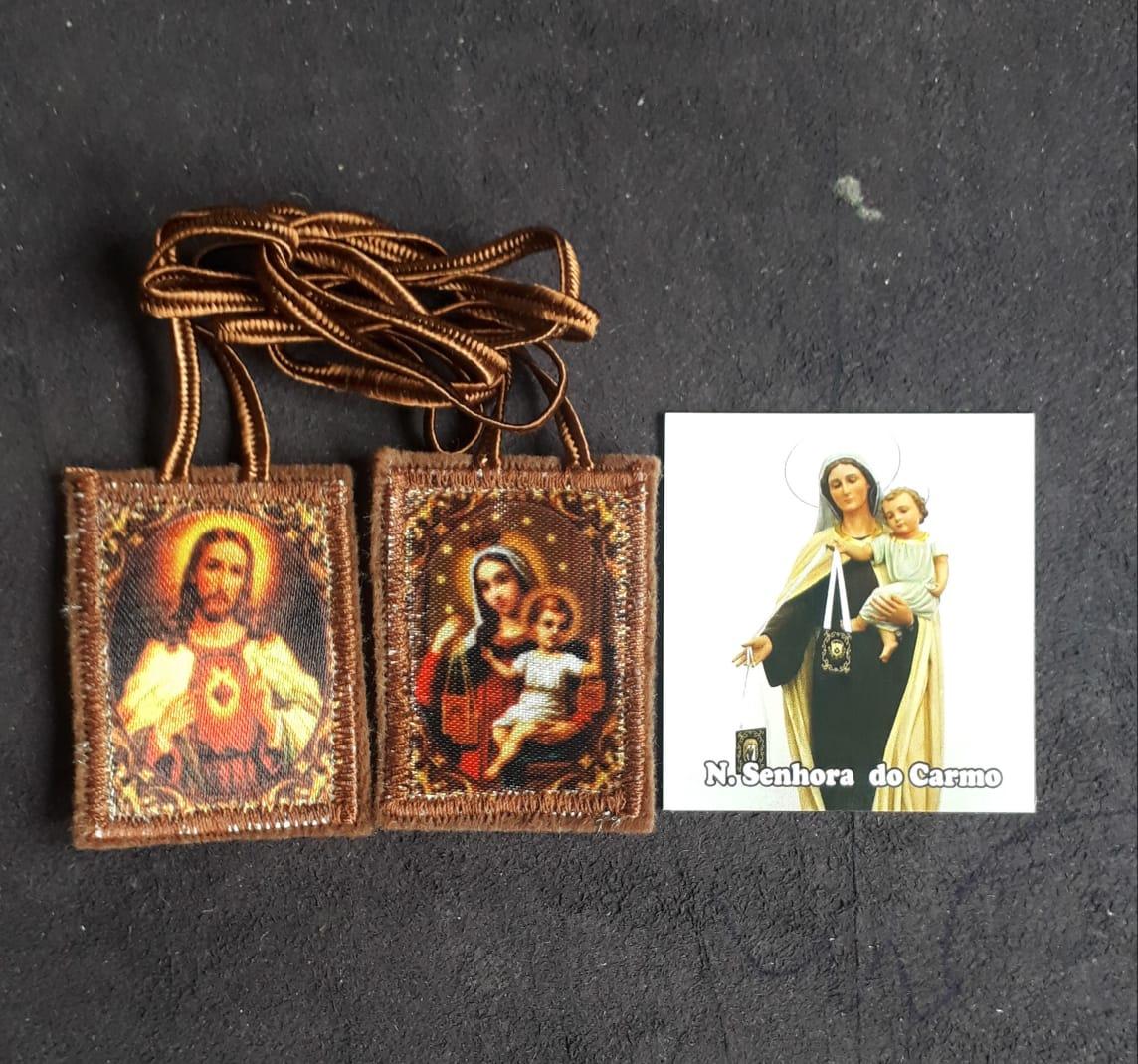 ES11 - Escapulário Pano 44mm c/ Oração  - VindVedShop - Distribuidora Catolica