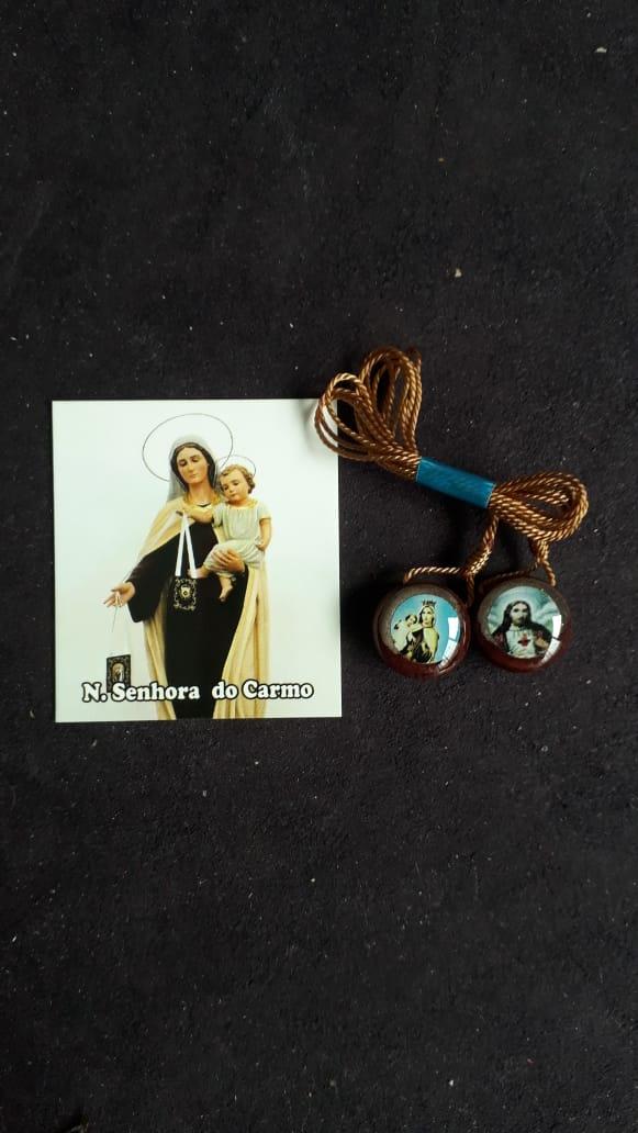 ES20 - Escapulário Madeira Redondo 15mm c/ Oração  - VindVedShop - Distribuidora Catolica