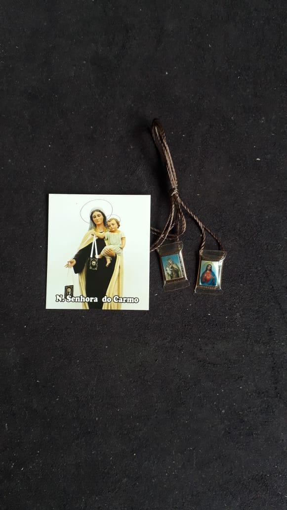 ES27 - Escapulário Plástico 17mm c/ Oração  - VindVedShop - Distribuidora Catolica