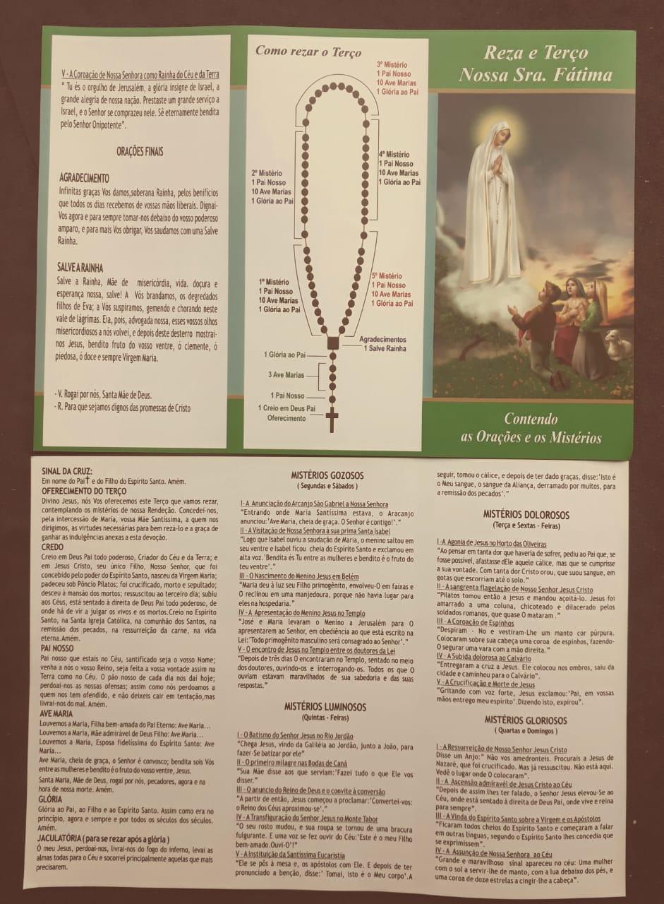 Folheto Reza e Terço Nossa Senhora de Fatima  - VindVedShop - Distribuidora Catolica