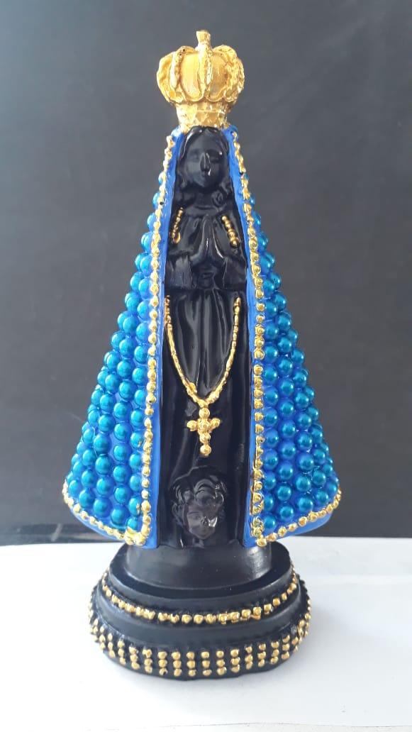ID1103 - Nossa Senhora Aparecida 17cm Perola Azul Resina  - VindVedShop - Distribuidora Catolica