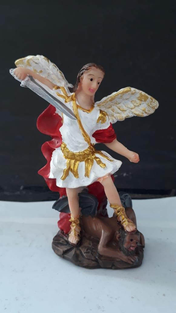 ID120 - São Miguel Arcanjo 08cm Resina  - VindVedShop - Distribuidora Catolica