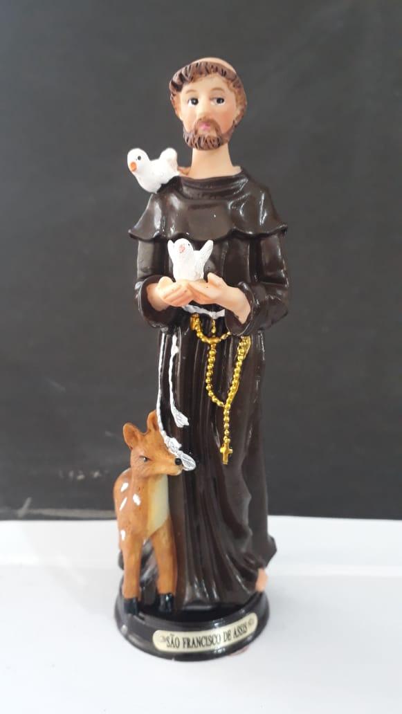 ID203 - São Francisco de Assis 15cm Resina  - VindVedShop - Distribuidora Catolica