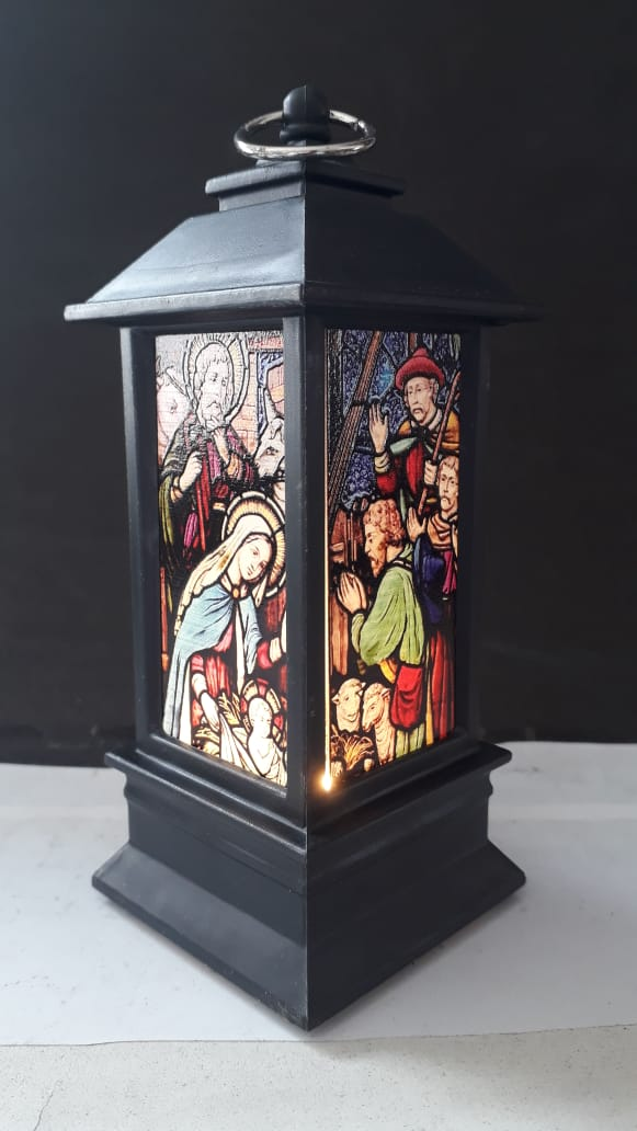 IN64 - Presépio Vitral Luminária 13cm Preto c/ Luz  - VindVedShop - Distribuidora Catolica