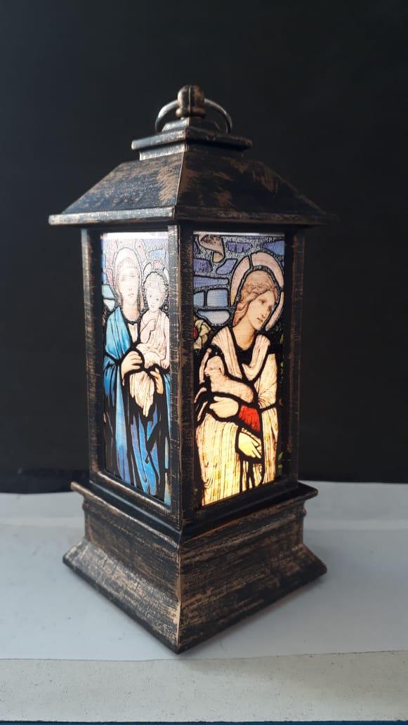 IN65 - Luminária Madonna Vitral Bronze 13cm c/ Luz  - VindVedShop - Distribuidora Catolica