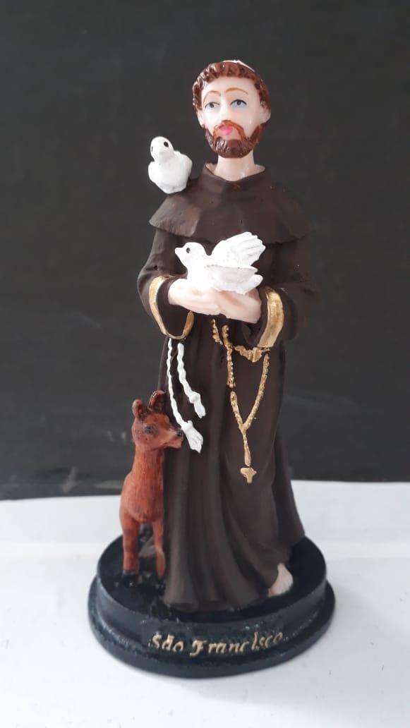 IV202 - São Francisco de Assis 12cm Resina  - VindVedShop - Distribuidora Catolica