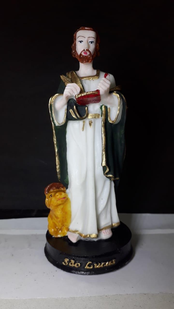 IV703 - São Lucas Evangelista 15cm Resina  - VindVedShop - Distribuidora Catolica