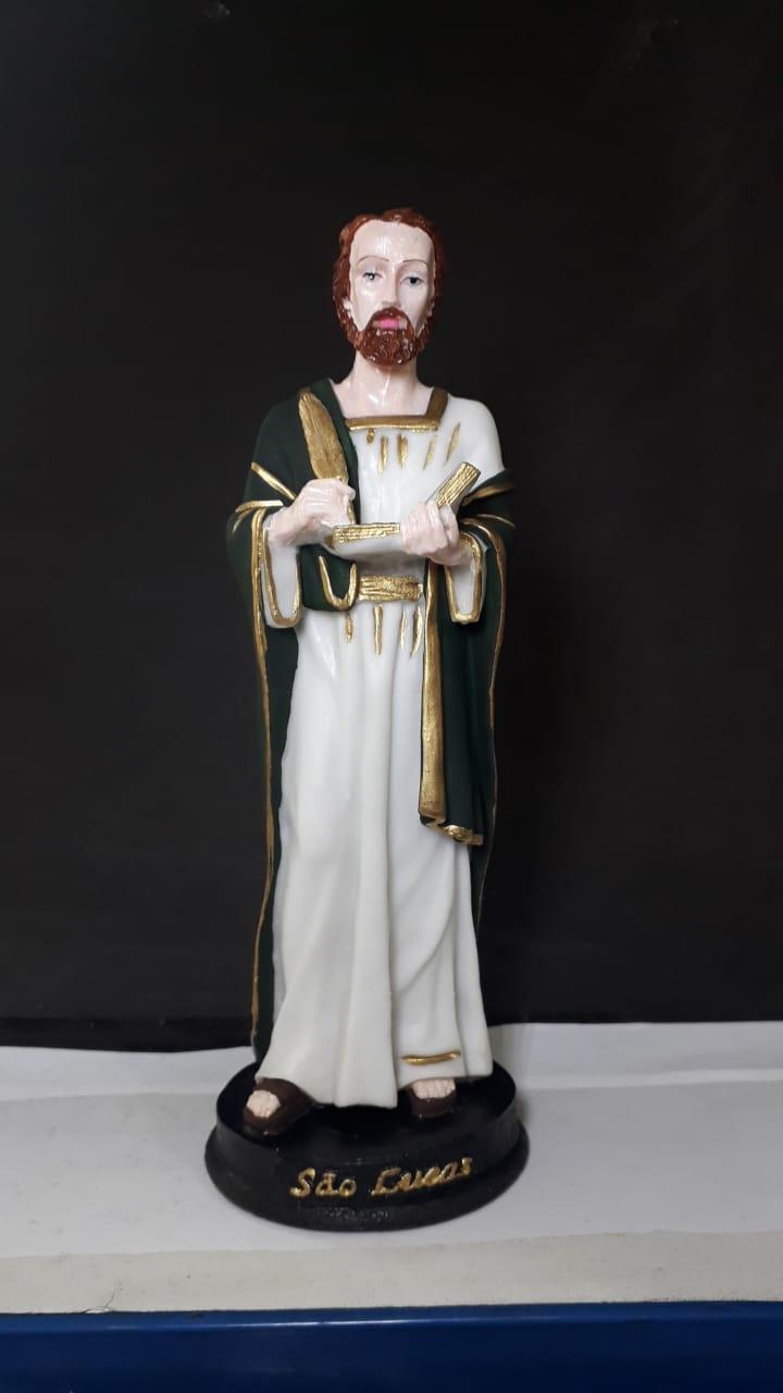 IV704 - São Lucas Evangelista 20cm Resina  - VindVedShop - Distribuidora Catolica