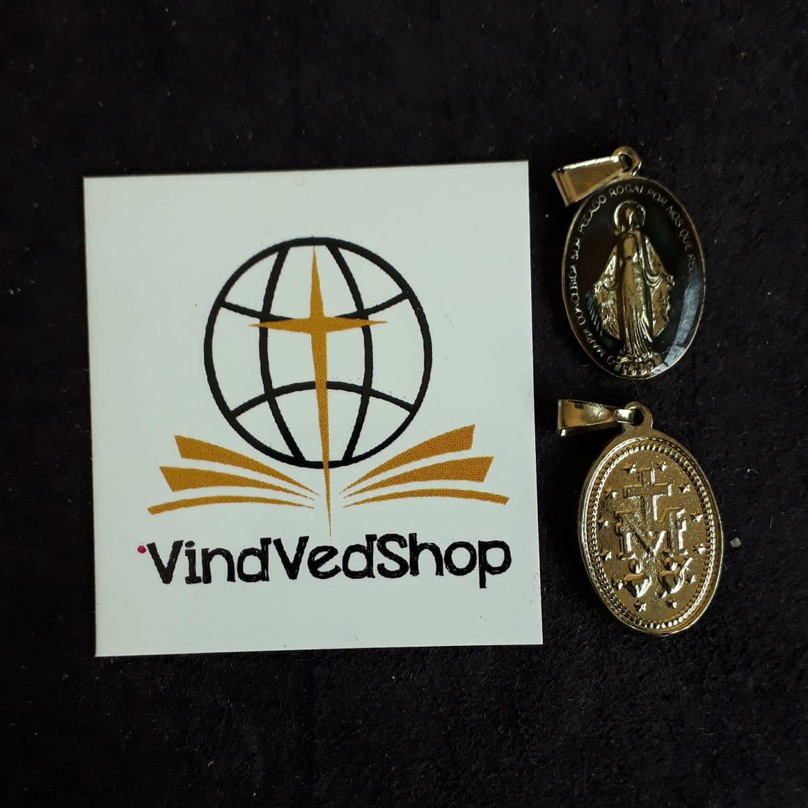 M10 - Medalha Nossa Senhora das Graças 18mm Resinada Dourada  - VindVedShop - Distribuidora Catolica