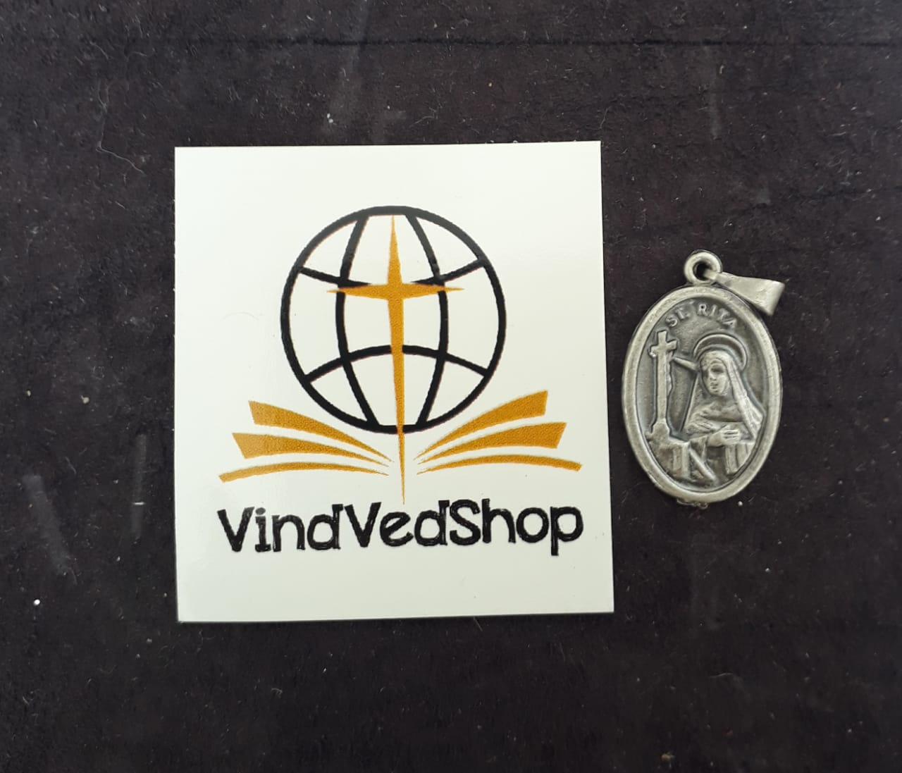 M27 - Medalha Santa Rita de Cássia 20mm Prata Velha  - VindVedShop - Distribuidora Catolica