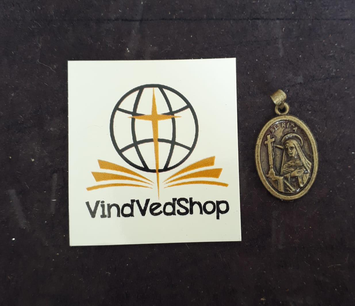 M35 - Medalha Santa Rita de Cassia 20mm Ouro Velho  - VindVedShop - Distribuidora Catolica