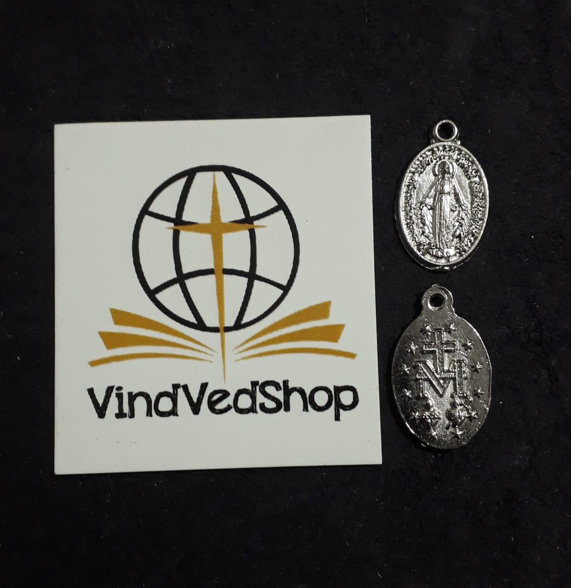 M37 - Medalha Nossa Senhora das Graças 18mm Niquel  - VindVedShop - Distribuidora Catolica