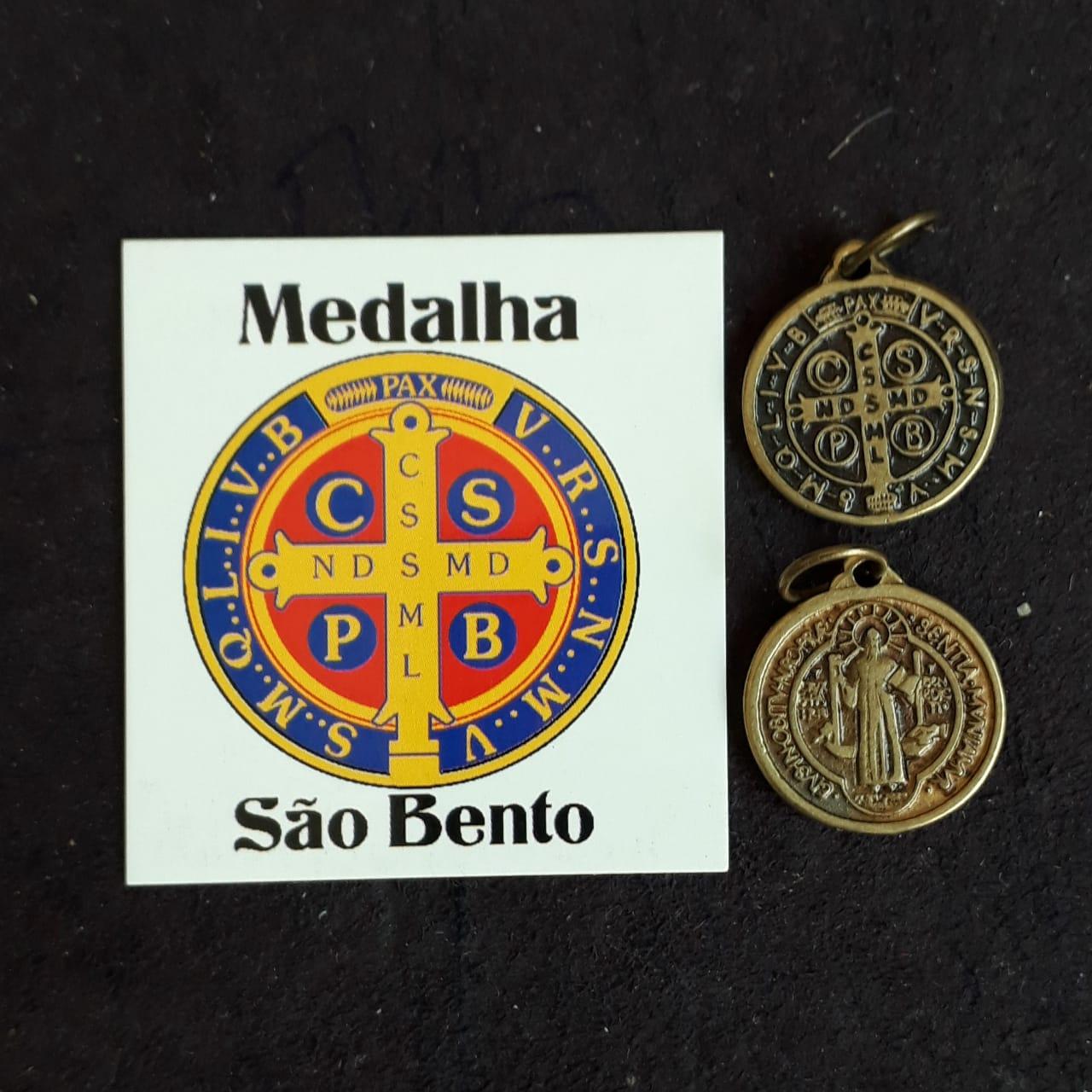 M45 - Medalha São Bento 18mm Ouro Velho  - VindVedShop - Distribuidora Catolica