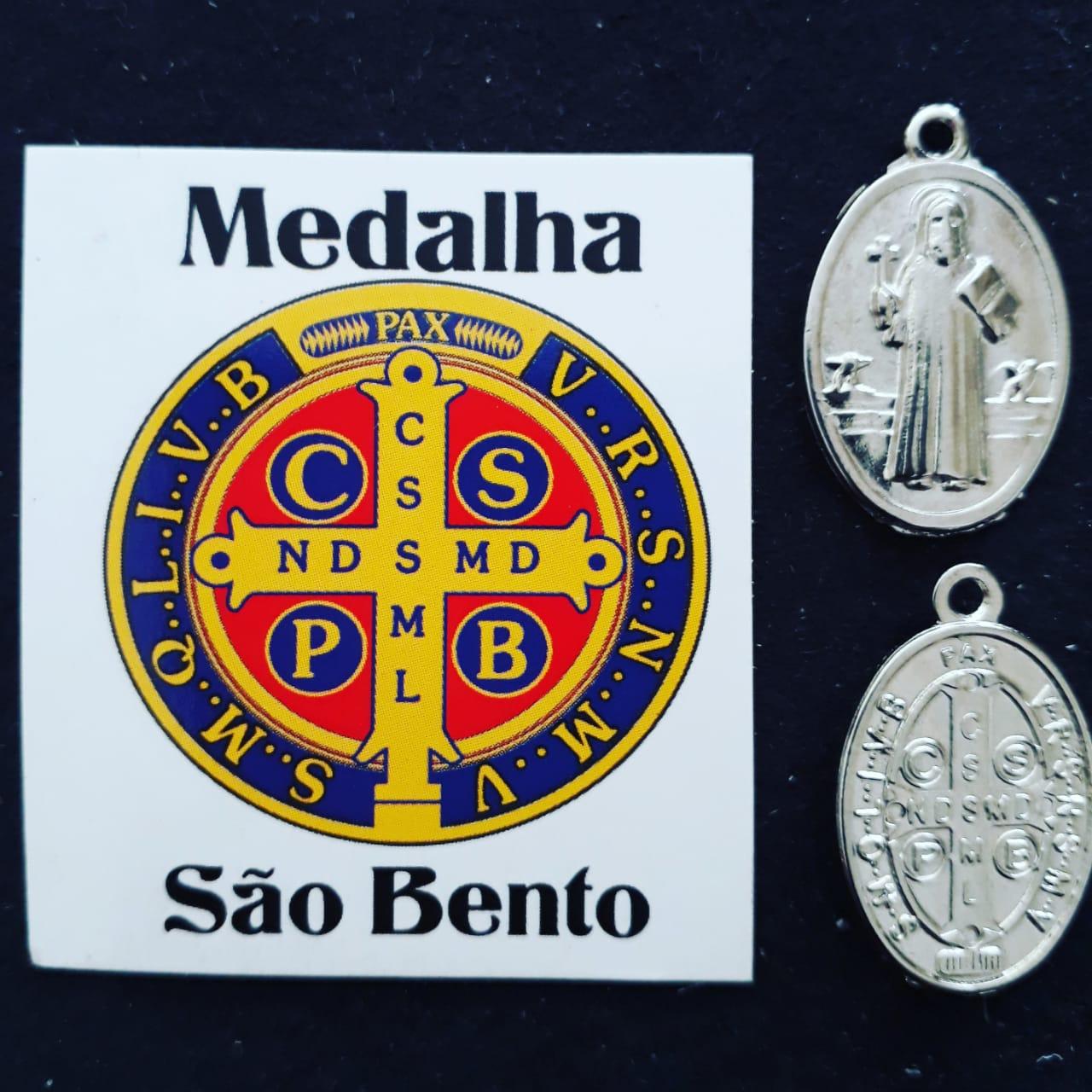M52 - Medalha Oval São Bento Duplo 20mm Níquel  - VindVedShop - Distribuidora Catolica