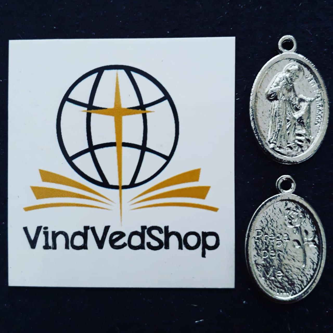 M53 - Medalha São Francisco de Assis 20mm Niquel  - VindVedShop - Distribuidora Catolica