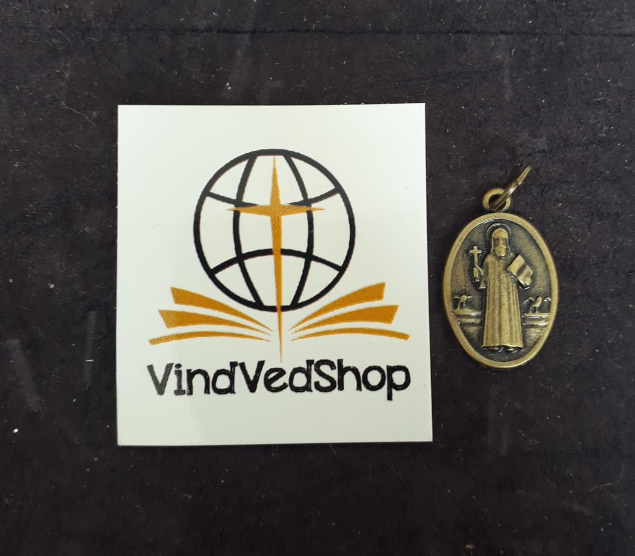 M65 - Medalha São Bento Dupla 20mm Ouro Velho  - VindVedShop - Distribuidora Catolica