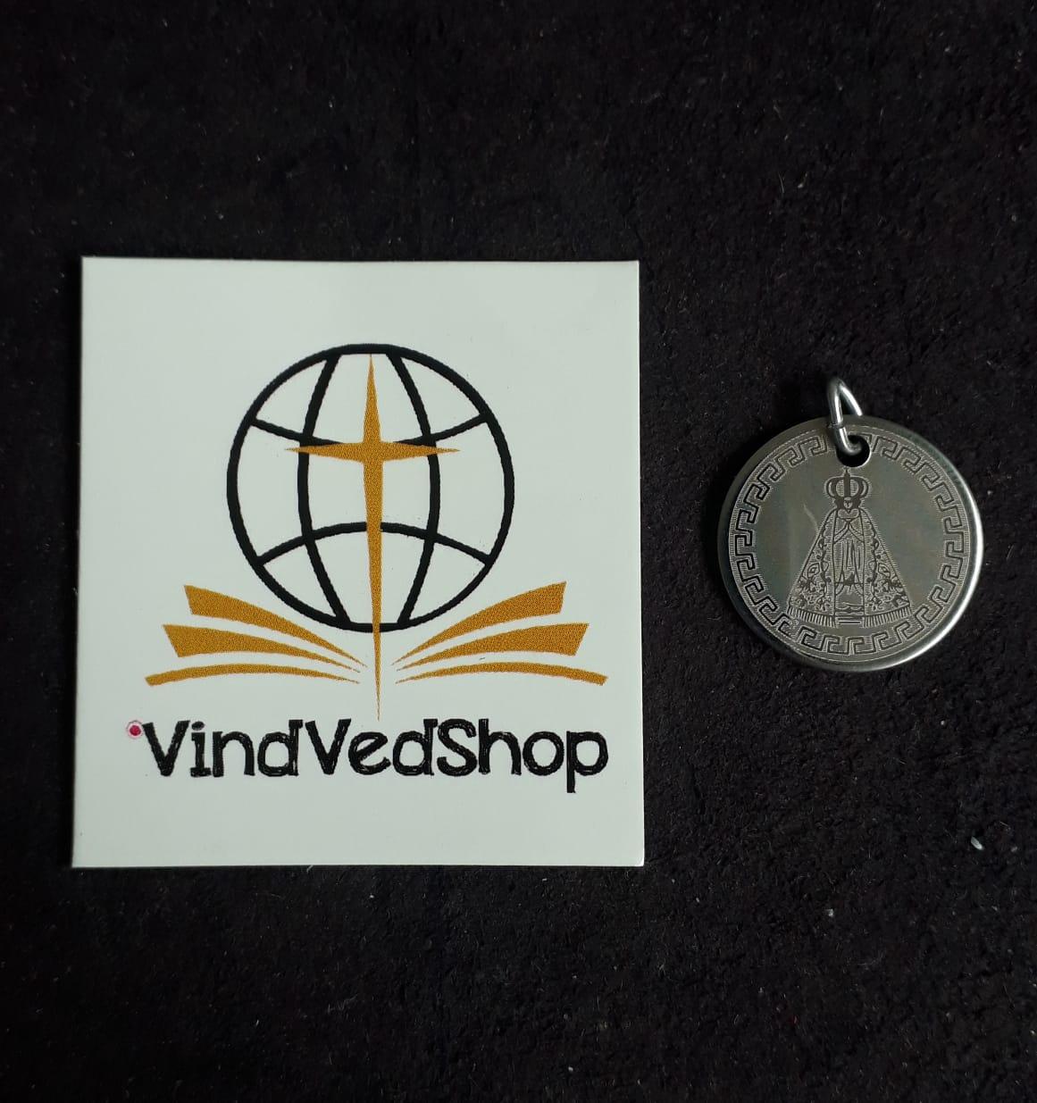 M75 - Medalha Nossa Senhora Aparecida 20mm Aço Laser  - VindVedShop - Distribuidora Catolica