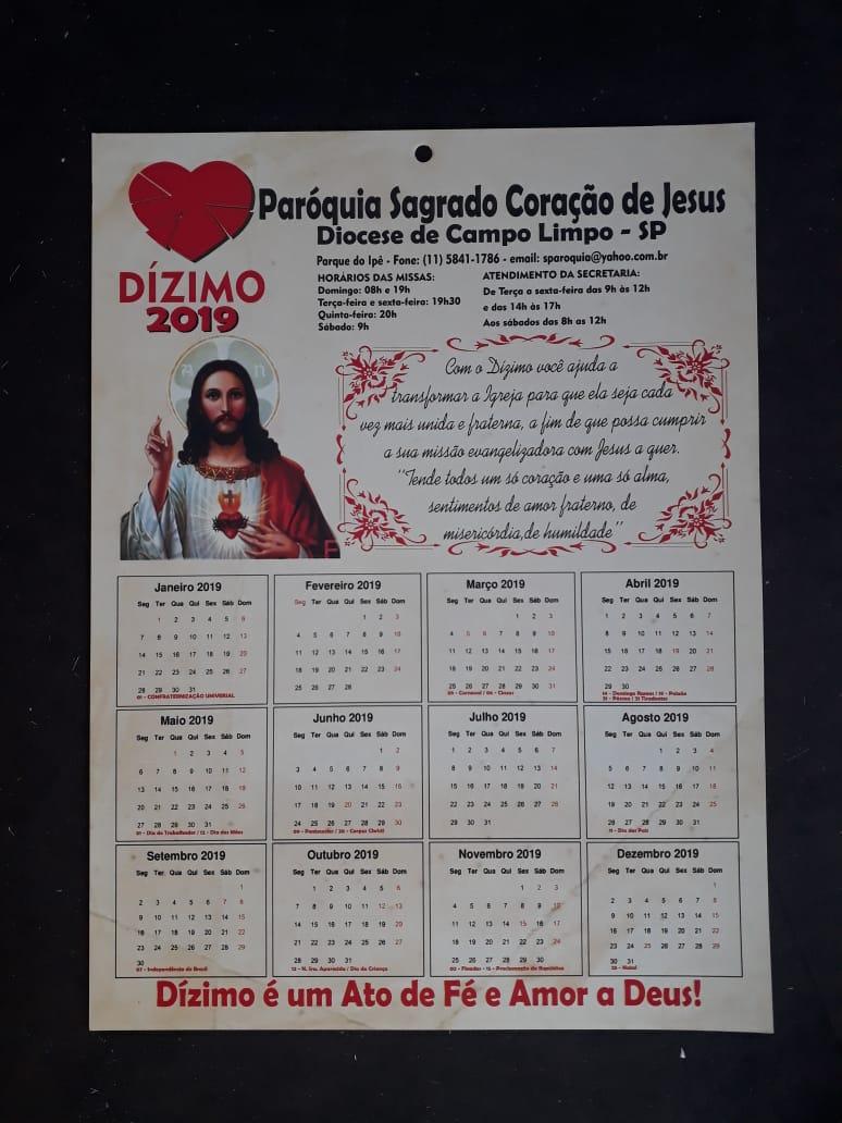 MP07 - Mini Calendario 2021 Personalizado 4X0 - 198x268mm em Couché Brilho 250g - Verniz Total Brilho Frente - Furo 7mm c/ 1.000  - VindVedShop - Distribuidora Catolica