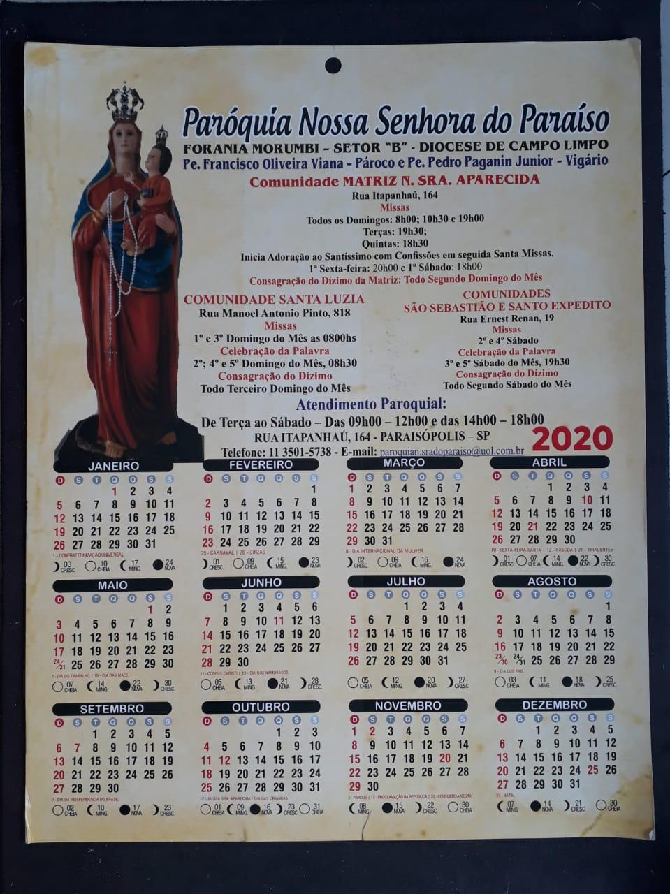 MP08 - Calendario 2021 Personalizado 4X0 - 248x358mm em Couché Brilho 250g - Verniz Total Brilho Frente - Furo 7mm c/1.000  - VindVedShop - Distribuidora Catolica